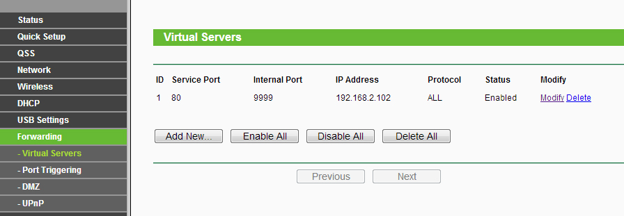 Figure 3 - Port Forwarding in Router